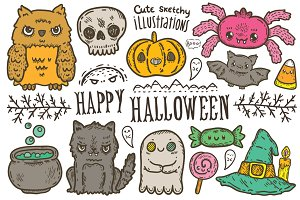 Happy Halloween characters, patterns