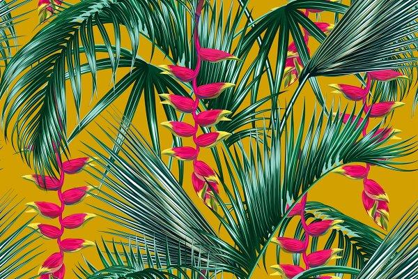 Tropical leaves,flowers pattern