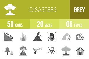 50 Disasters Greyscale Icons