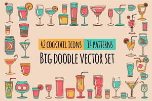 Doodle cocktail icons and patterns