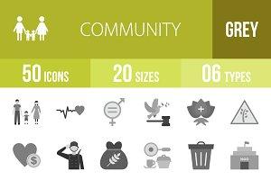 50 Community Greyscale Icons