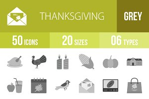 50 Thanksgiving Greyscale Icons