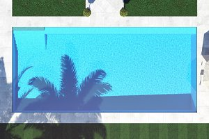 pool with shade from the palm trees. top view 3d rendering