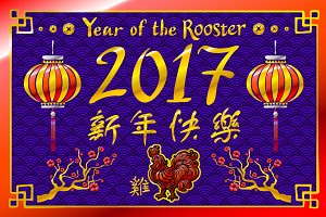 2017 New Year rooster chinese vector
