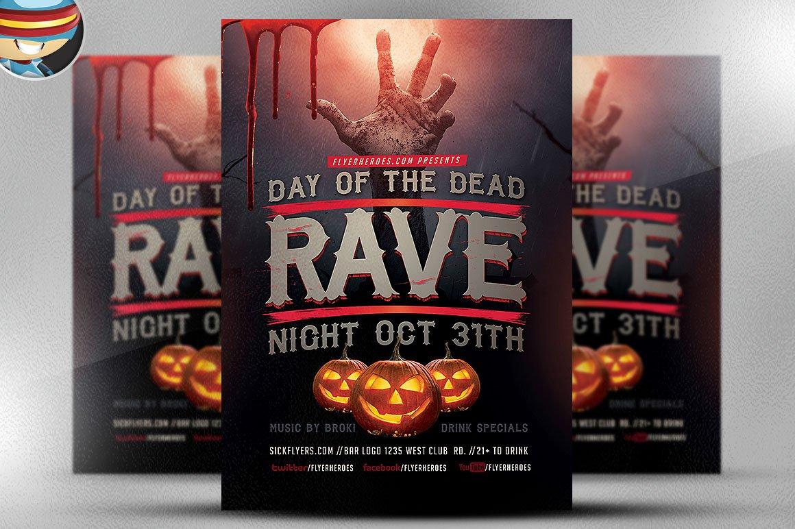 rave night flyer template flyer templates on creative market