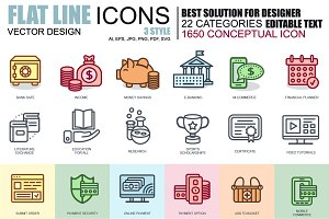 Flat Line Icons Bundle