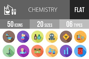 50 Chemistry Flat Shadowed Icons