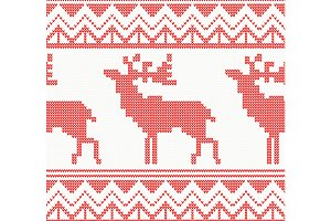 Knitted Deer Seamless Pattern