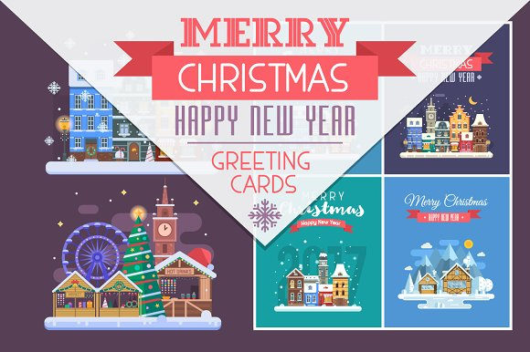 new year and christmas cards cards