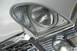 headlight of a white luxury