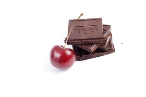Sweet chocolate with red cherry