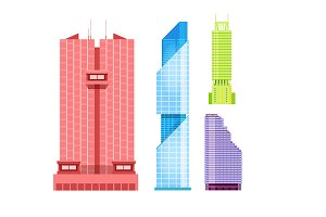 Skyscrapers icons set in flat style.