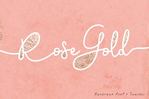 Rose Gold Font + Swashes