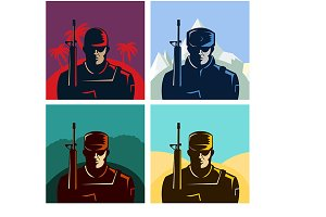 Soldier badges or avatars set.