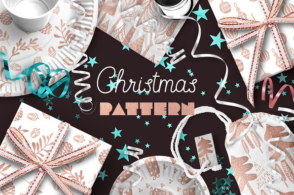 Christmas pattern. Pink gold papers. - Patterns