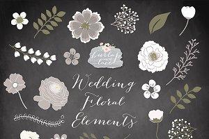 Chalkboard/rustic flowers clipart