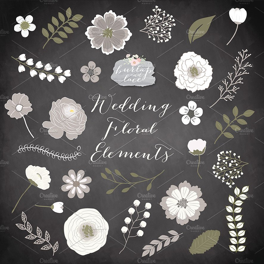 Chalkboard Rustic Flowers Clipart Illustrations Creative Market