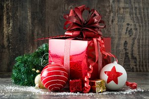 Red gift box and Christmas balls