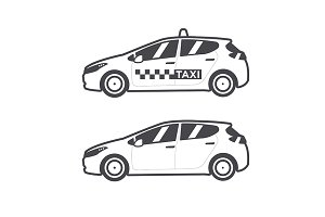 Taxi car icon. Vector flat line.