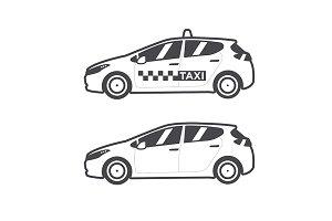 Taxi car icon. Vector flat line.