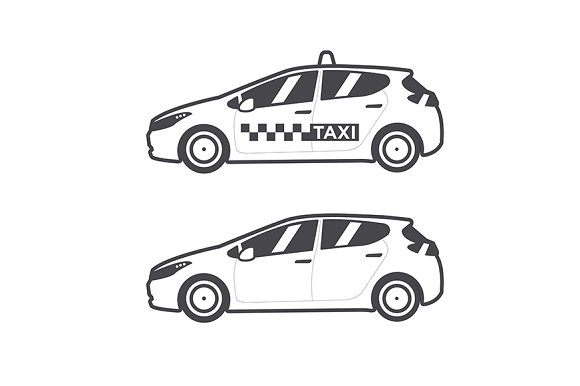 Taxi car icon. Vector flat line. - Illustrations