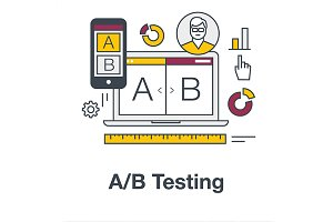 Flat icon banner for AB testing.