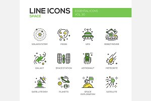 Space & Aliens - Line Icons Set