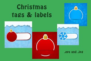 New Year & Christmas tags and labels