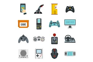Video game icons set, flat style