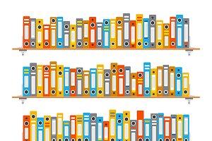 Bookshelves with folders