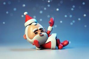 3D lying Santa Claus character