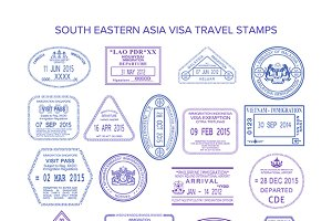 South eastern asia visa stamps
