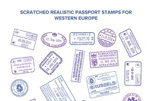 Scratched visa stamps set