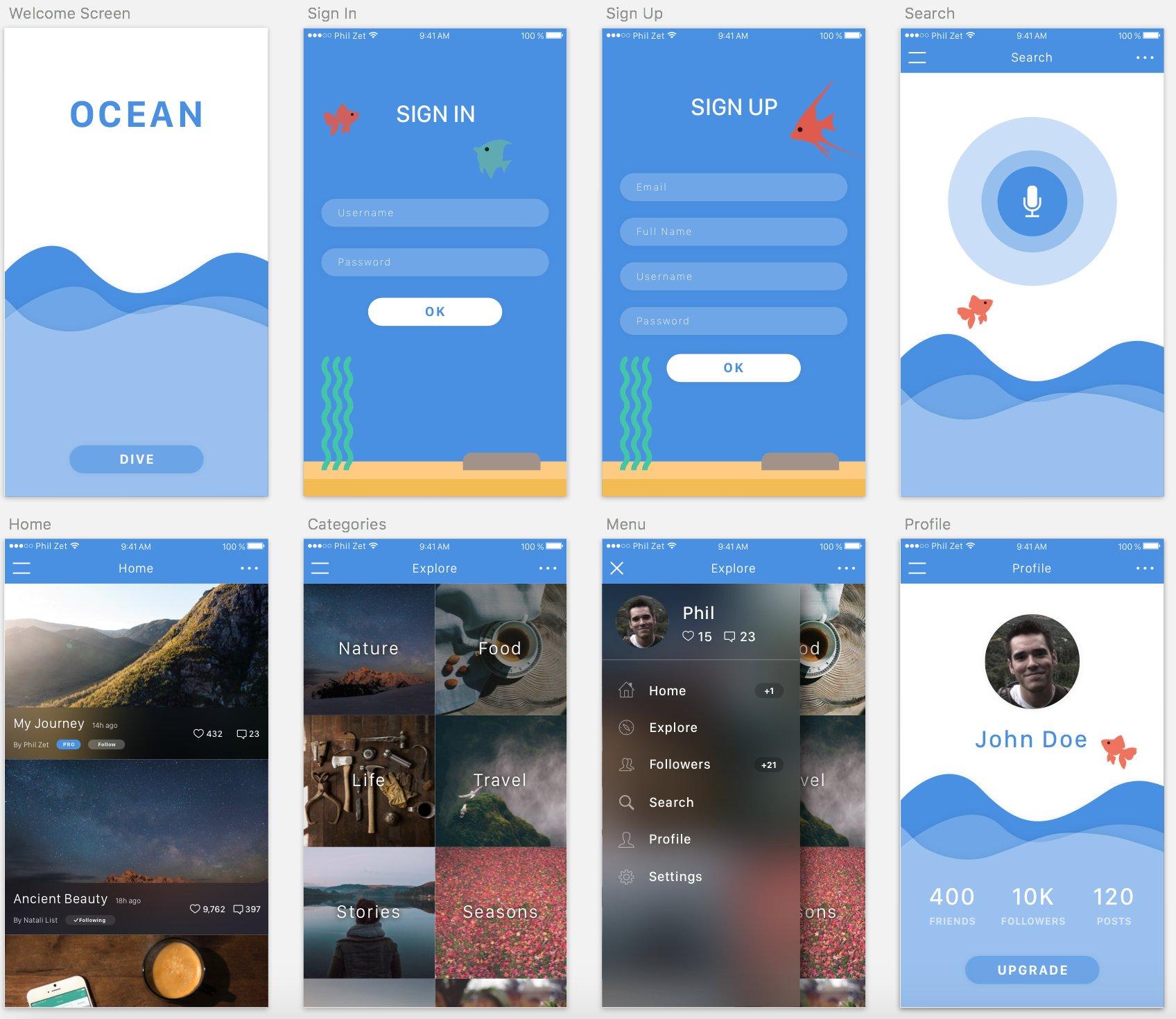ocean ios app template sketch 3 web elements creative market