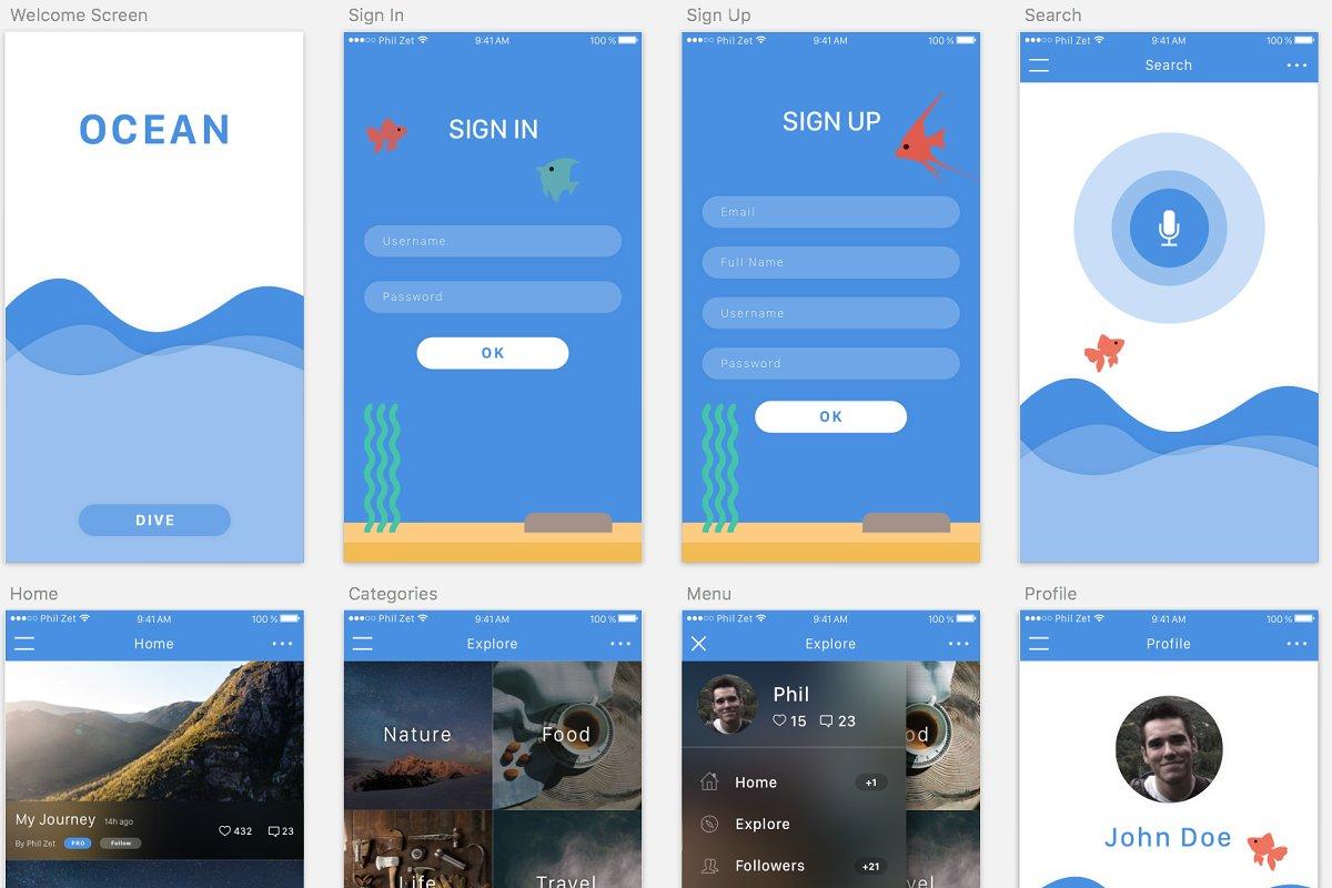 Ocean – iOS App Template (Sketch 3) ~ UI Kits and Libraries