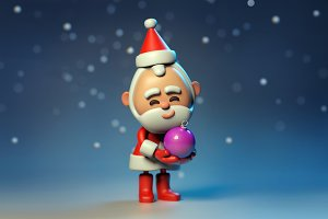 3D Santa Claus with christmas ball
