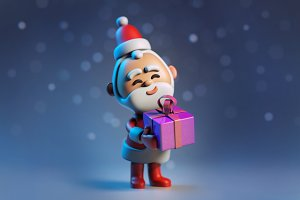 3D Santa Claus with christmas gift