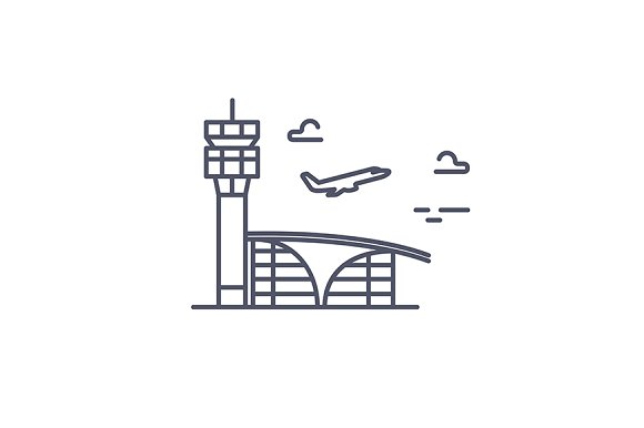 Airport building.Vector line icon. - Icons