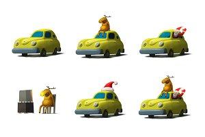 Yellow car Christmas set