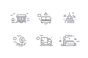 Buildings icon set for estate agency