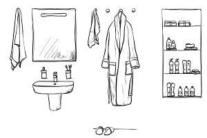 Bath room interior. Bathrobe.
