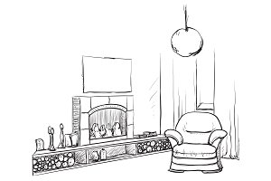 Room interior with fireplace