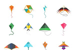 Flying kite vector collection