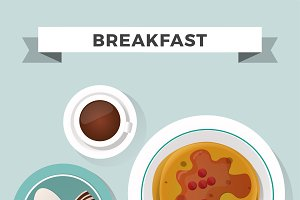 Breakfast flat top view set