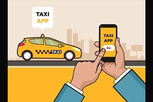 Taxi service app. Hand with phone.