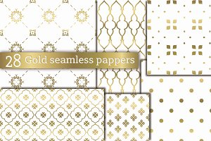 28 golden seamless patterns 30%OFF