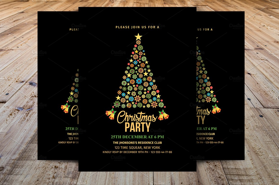 Christmas Party Invitations Template Templates Creative Market - Party invitation template: club party invitation template