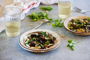 Baked eggplant with yogurt and nuts