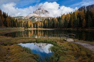 Autumn lake in Dolomites