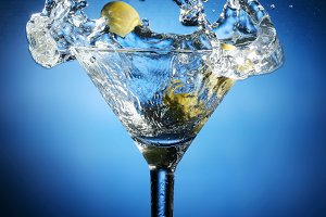 Splash in a glass of martini.